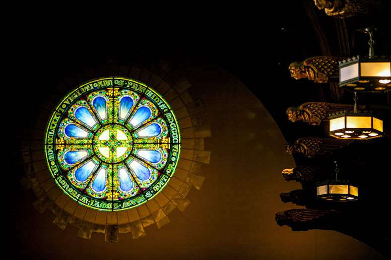 Tiffany Rose Window in the Chapel