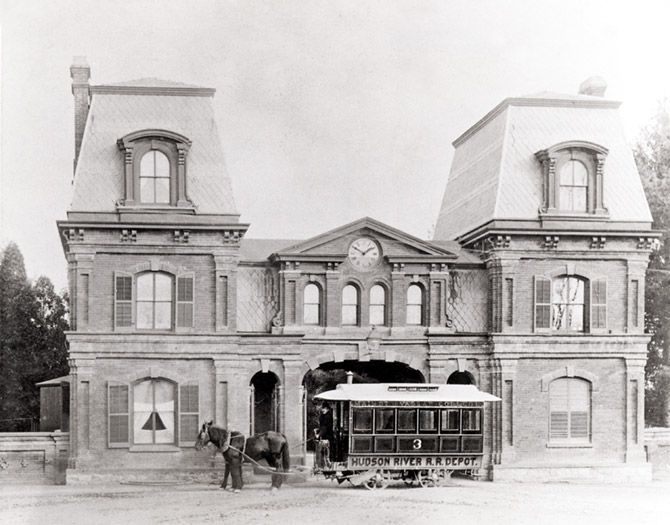 The Vassar Gate Lodge with a Trolley