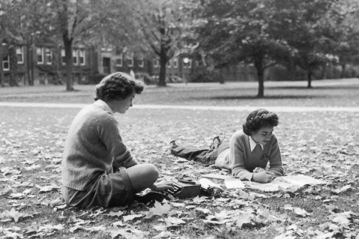 Studying on the Quad, 1950s